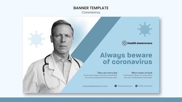Modelo de banner para pandemia de coronavírus