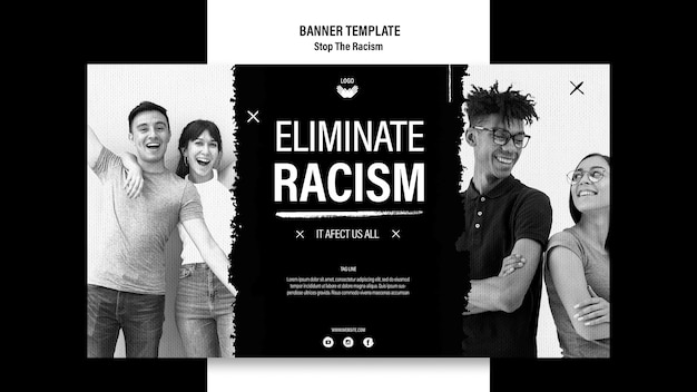 Modelo de banner para parar o racismo