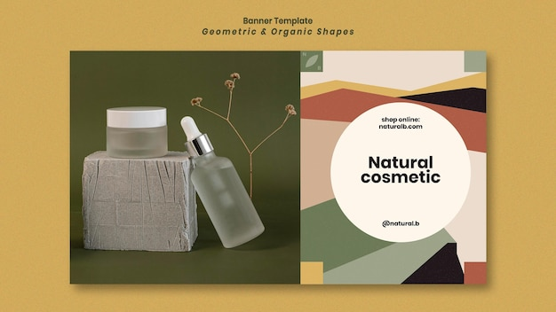 Modelo de banner para pódio de garrafa de óleo essencial com formas geométricas