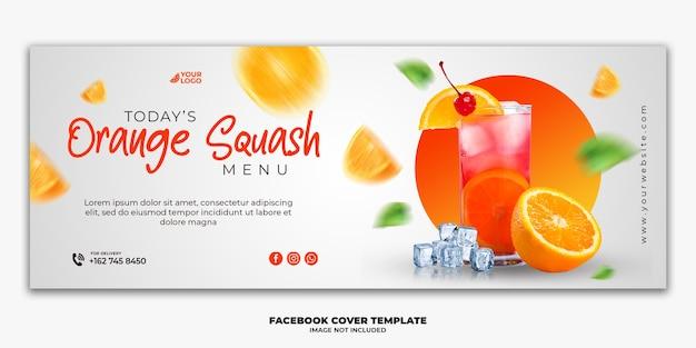 Modelo de banner para postagem de capa do facebook para bebida especial no menu de comida de restaurante