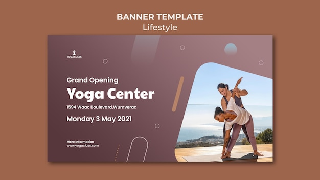 Modelo de banner para prática e exercícios de ioga