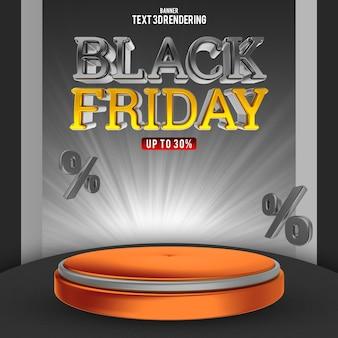 Modelo de banner para renderização 3d de venda de sexta-feira negra