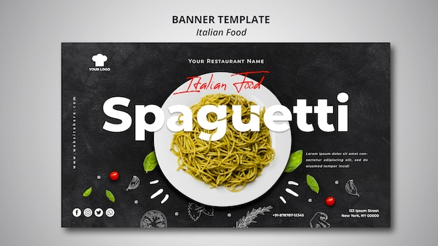 Modelo de banner para restaurante de comida italiana tradicional