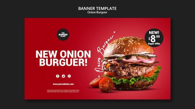 Modelo de banner para restaurante de hambúrguer