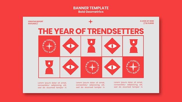 Modelo de banner para revisão e tendências de ano novo