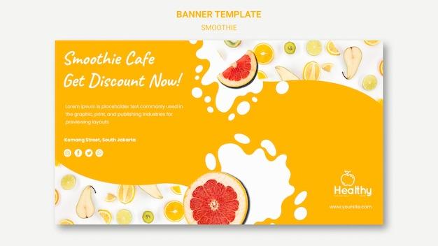 Modelo de banner para smoothies de frutas saudáveis