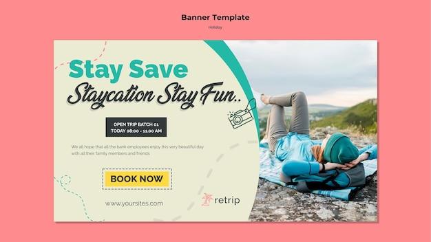 Modelo de banner para viagem de férias de realidade virtual