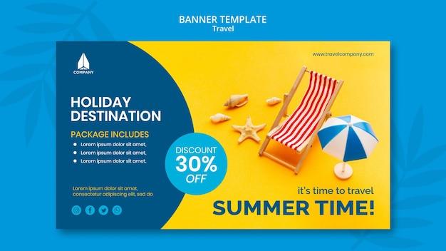 Modelo de banner para viagens de férias