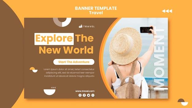 Modelo de banner para viajar com mulher