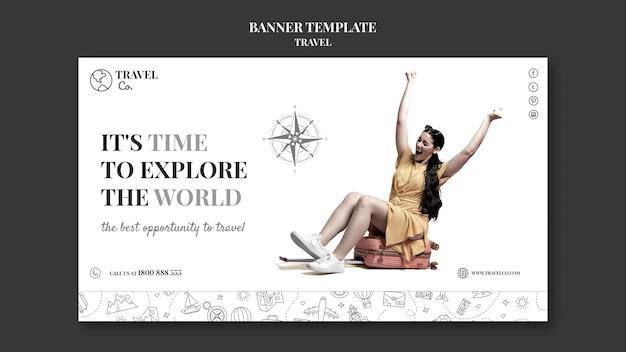 Modelo de banner para viajar pelo mundo