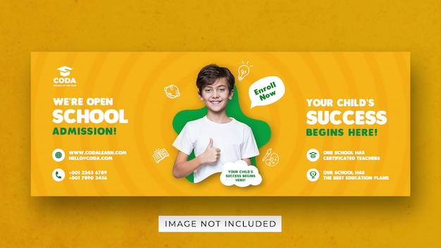 Modelo de banner para volta às aulas para mídias sociais