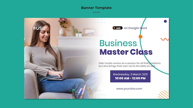 Modelo de banner para webinar e início de negócios