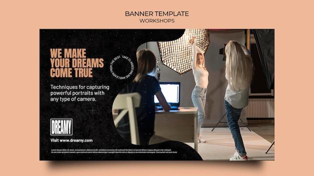 Modelo de banner para workshops e aulas de profissão