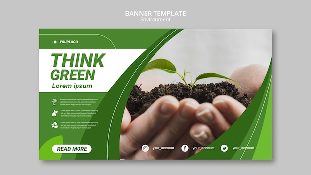 Modelo de banner - pense em ambiente verde