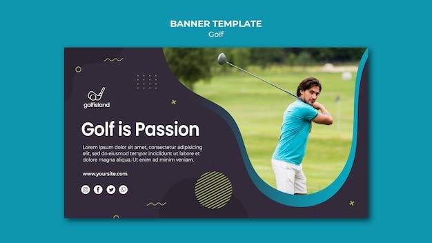 Modelo de banner praticando golfe