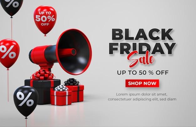 Modelo de banner preto de venda na sexta-feira com caixa de presente, megafone e balões