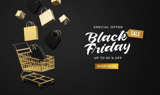 Modelo de banner preto de venda na sexta-feira com sacos de loja em 3d e cubos flutuando até o carrinho de compras
