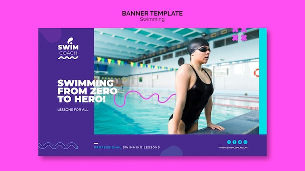 Modelo de banner profissional nadadora