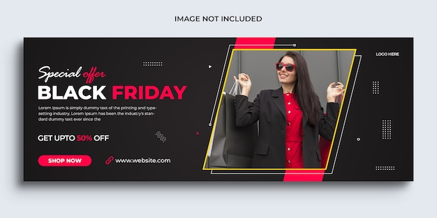 Modelo de banner promocional da capa do facebook do banner de venda da black friday