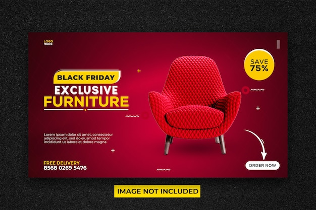 Modelo de banner promocional da web para venda de móveis da black friday
