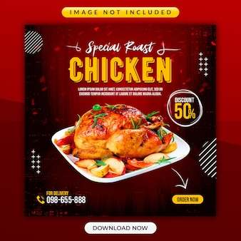 Modelo de banner promocional de frango assado especial ou restaurante