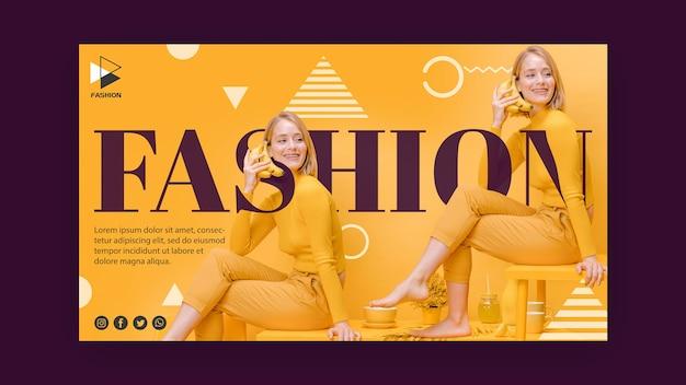Modelo de banner promocional de moda