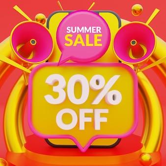 Modelo de banner promocional de venda de verão com 30% de desconto