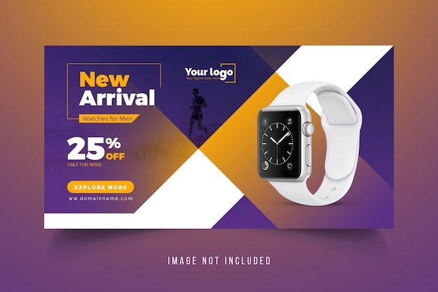 Modelo de banner promocional relógio inteligente de mídia social