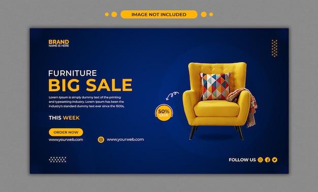Modelo de banner promocional web grande venda de móveis