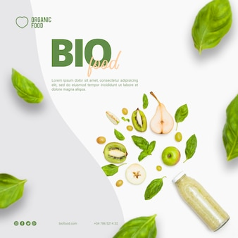 Modelo de banner quadrado de comida bio