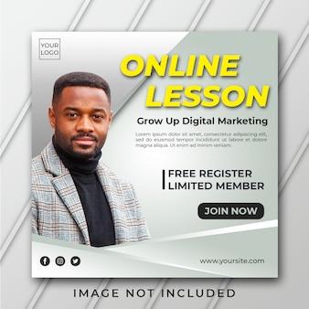 Modelo de banner quadrado de lição on-line