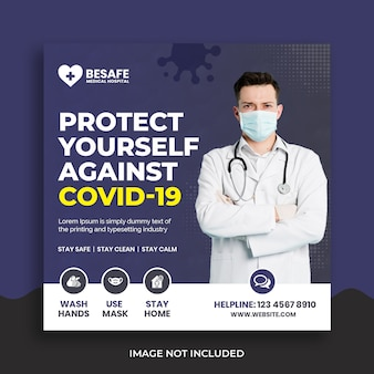 Modelo de banner quadrado de mídia social de coronavírus