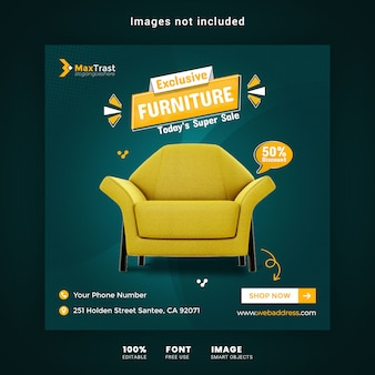 Modelo de banner quadrado de promoção de venda de móveis exclusivos