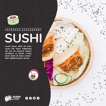 Modelo de banner quadrado de restaurante de sushi asiático