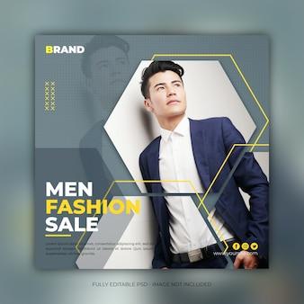 Modelo de banner quadrado de venda de moda masculina