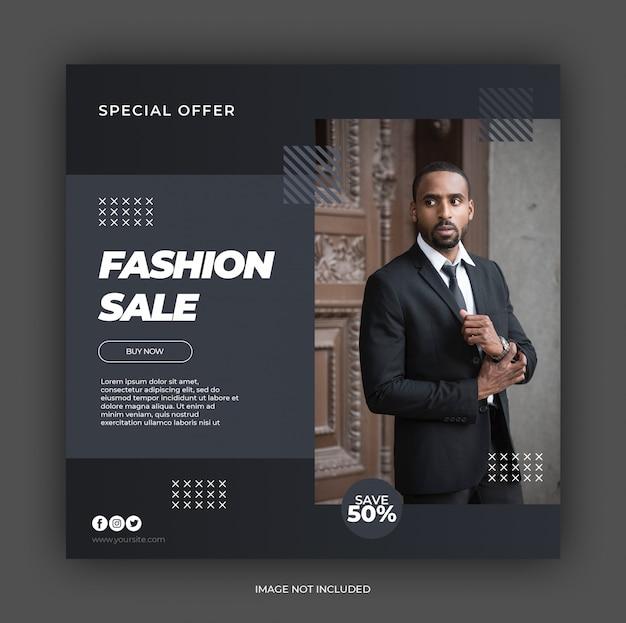 Modelo de banner quadrado de venda de moda