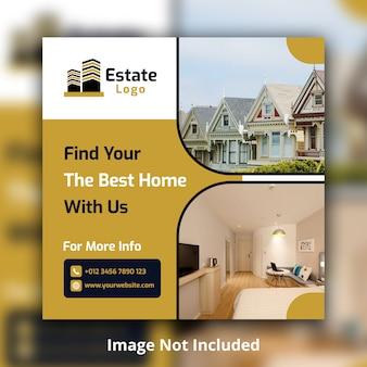 Modelo de banner quadrado imobiliário mídia social
