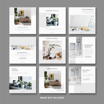 Modelo de banner quadrado mobiliário minimalista