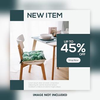 Modelo de banner quadrado para instagram, decoração de arquitetura de móveis limpa