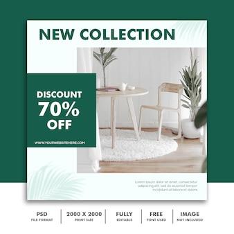 Modelo de banner quadrado para instagram, verde de decoração de arquitetura de móveis elegante