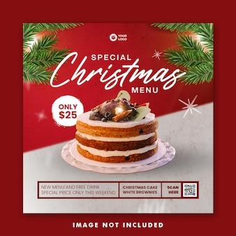 Modelo de banner quadrado para menu de comida de bolo de natal nas mídias sociais