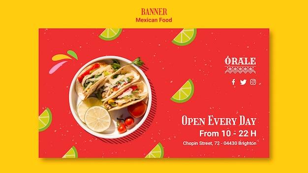 Modelo de banner restaurante de comida mexicana