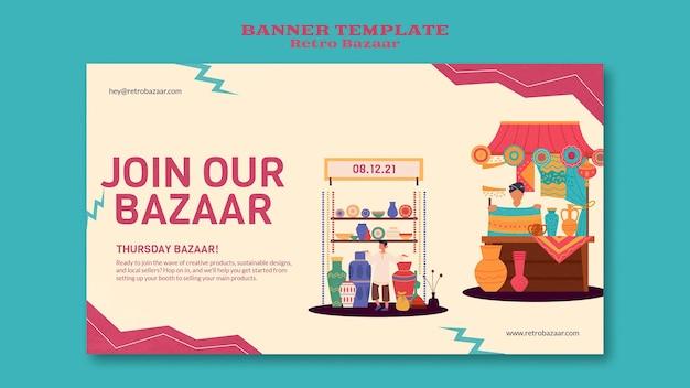 Modelo de banner retrô bazar