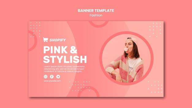 Modelo de banner rosa e elegante