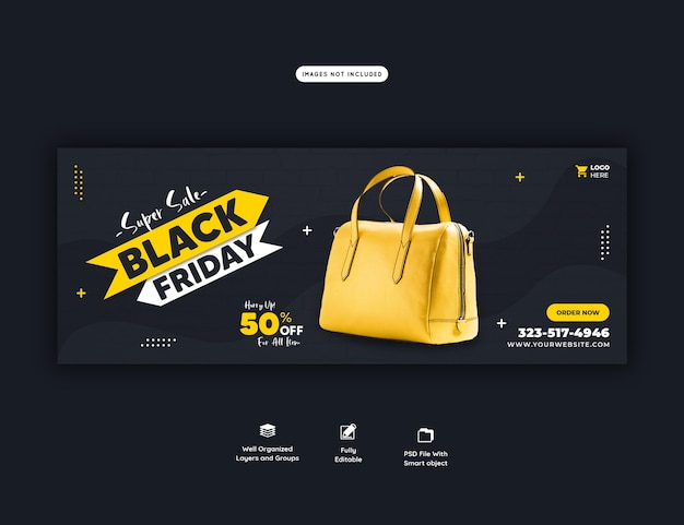 Modelo de banner super venda black friday capa do facebook