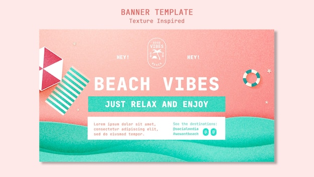 Modelo de banner texturizado de praia