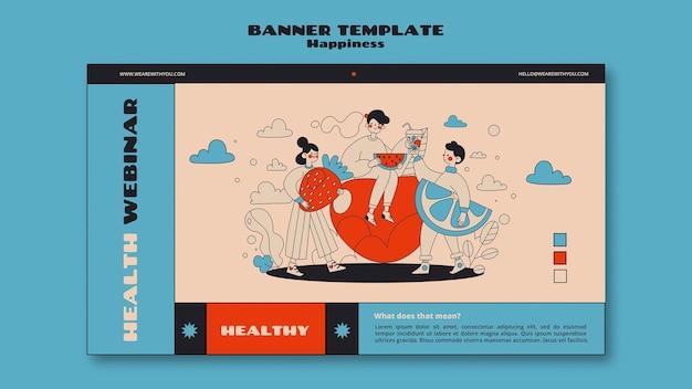 Modelo de banner webinar sobre felicidade