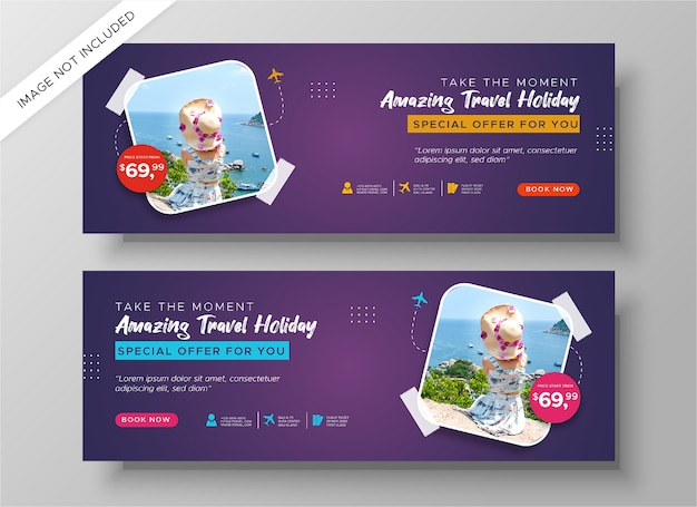 Modelo de banners de viagens isolado
