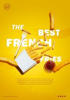 Modelo de batatas fritas e molho
