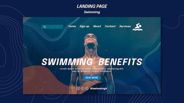 Modelo de benefícios de natação na página de destino
